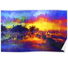 sunset sunrise abstract impressionist bright  Poster