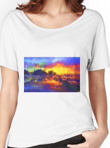 sunset sunrise abstract impressionist bright  Women's Relaxed Fit T-Shirt