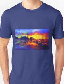 sunset sunrise abstract impressionist bright  Unisex T-Shirt