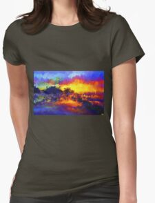 sunset sunrise abstract impressionist bright  Womens Fitted T-Shirt