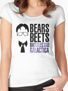 Dwight Schrute Bears, Beets, and Battlestar Galactica Women's Fitted Scoop T-Shirt