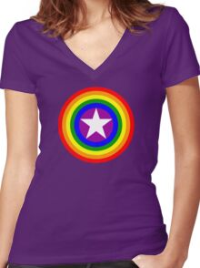 Pride Shields - Rainbow Women's Fitted V-Neck T-Shirt