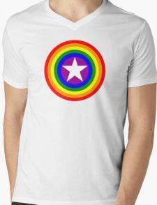 Pride Shields - Rainbow Mens V-Neck T-Shirt