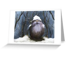 Little owl in the snow Greeting Card