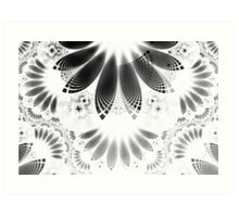 Silver Shikoba - Beautiful Black on White Fractal Paisley Forming Feathered Wings Art Print