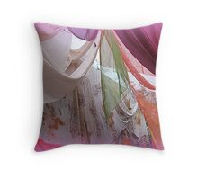 drapery of colored silks Throw Pillow