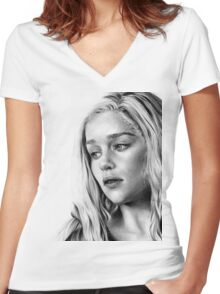 enticing woman Women's Fitted V-Neck T-Shirt