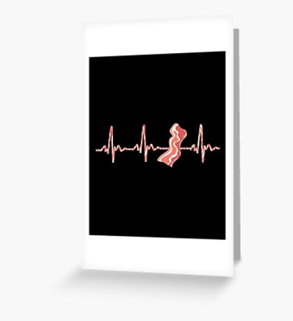 My Heart Beats For Bacon Greeting Card