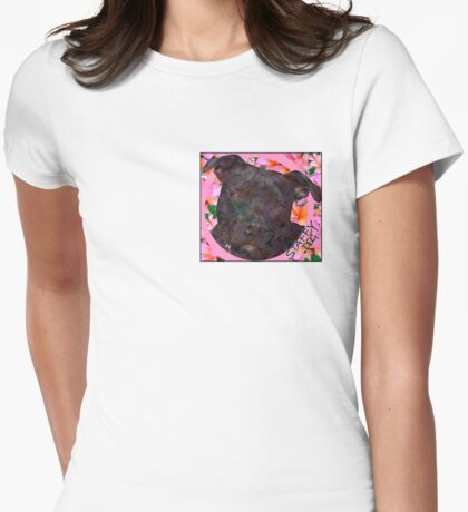Staffy Dog Goes Floral Womens Fitted T-Shirt