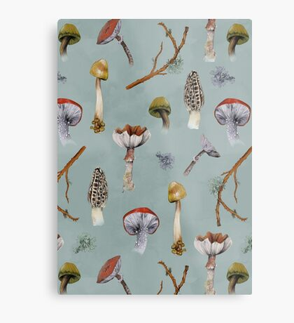 Mushroom Forest Collecting Party Metal Print