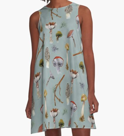 Mushroom Forest Collecting Party A-Line Dress