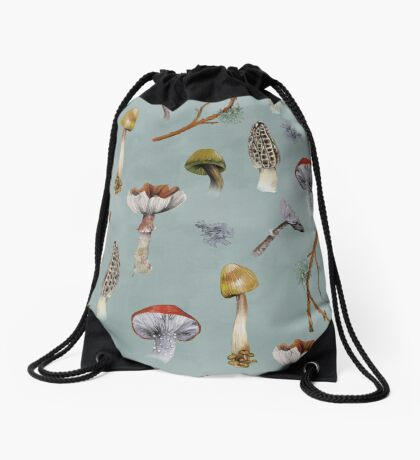 Mushroom Forest Collecting Party Drawstring Bag