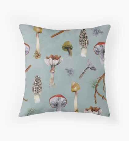 Mushroom Forest Collecting Party Throw Pillow