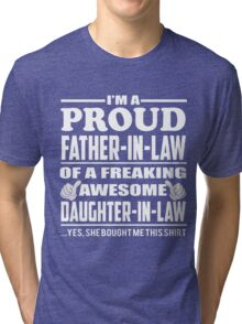 Men's-Proud-Father-in-Law-of-Awesome-Daughter-in-Law-Shirt Tri-blend T-Shirt