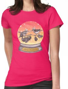 Christmas Cracker Robins Snowglobe Womens Fitted T-Shirt