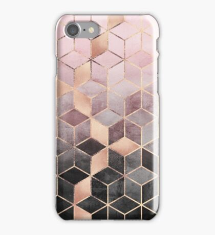 Pink And Grey Gradient Cubes iPhone Case/Skin