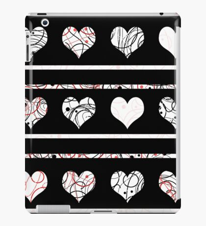 Elegant red, black and white hearts pattern iPad Case/Skin