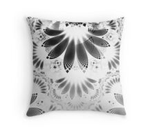 Silver Shikoba - Beautiful Black on White Fractal Paisley Forming Feathered Wings Throw Pillow