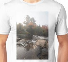 Foggy Fall Waterscape - the Rushing River Unisex T-Shirt