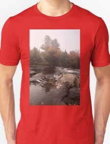 Foggy Fall Waterscape - the Rushing River T-Shirt