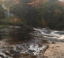 Foggy Fall Waterscape - the Rushing River Sticker