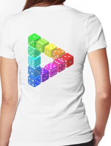 Dice, Triangle, ILLUSION, Optical illusion, visual illusion, weird, odd, Cube, Womens Fitted T-Shirt