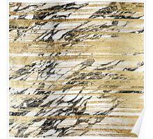 Chic Gold Brushstrokes on Black White Marble Poster