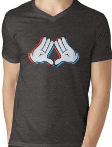 Stereoscopic swag hand Mens V-Neck T-Shirt