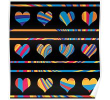 Colorful harts pattern 3 Poster