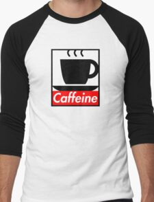 Caffeine coffee cup obey poster (I love coffee) Men's Baseball ¾ T-Shirt