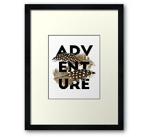 Adventure black typography brown feathers Framed Print