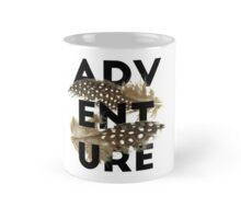 Adventure black typography brown feathers Mug