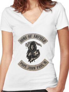 Sons of Anfield - Famous Fans, Pope John Paul II Women's Fitted V-Neck T-Shirt