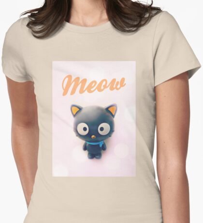 Meow. Womens Fitted T-Shirt