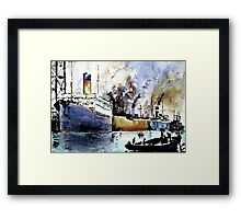 Ships in Dock Framed Print