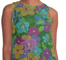 Spring Flower Mosaic in Bright Colors Contrast Tank