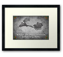 Skyrim Christmas Card: Watch the Skies Traveler Framed Print