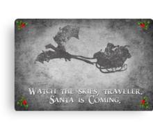 Skyrim Christmas Card: Watch the Skies Traveler Canvas Print