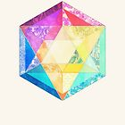 Retro Rainbow Patchwork Hexagon by micklyn
