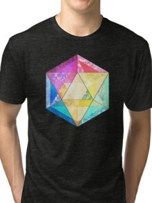 Retro Rainbow Patchwork Hexagon Tri-blend T-Shirt
