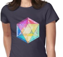 Retro Rainbow Patchwork Hexagon Womens Fitted T-Shirt