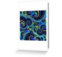 Blue Retro Fractal Art Greeting Card