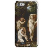 Jan Brueghel The Elder - Diana And Actaeon 1600. Vintage Baroque oil famous painting : lovely, woman ,  fantastic, diana, nude, beautiful, wonderful. iPhone Case/Skin