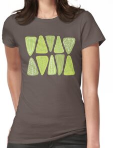 Mid Century Triangle Leaves in Shades of Green Womens Fitted T-Shirt