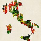 Italy Typographic Watercolor Map by Deniz Akerman