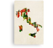Italy Typographic Watercolor Map Metal Print