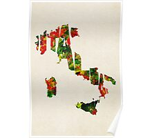 Italy Typographic Watercolor Map Poster