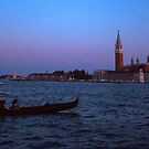 Gondolier and S Georgio Venice Italy 19840731 0078  by Fred Mitchell