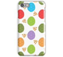 TMNT colourful shells and pizza (white) iPhone Case/Skin