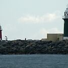 Red and Green Lighthouses panorama by BigAndRed